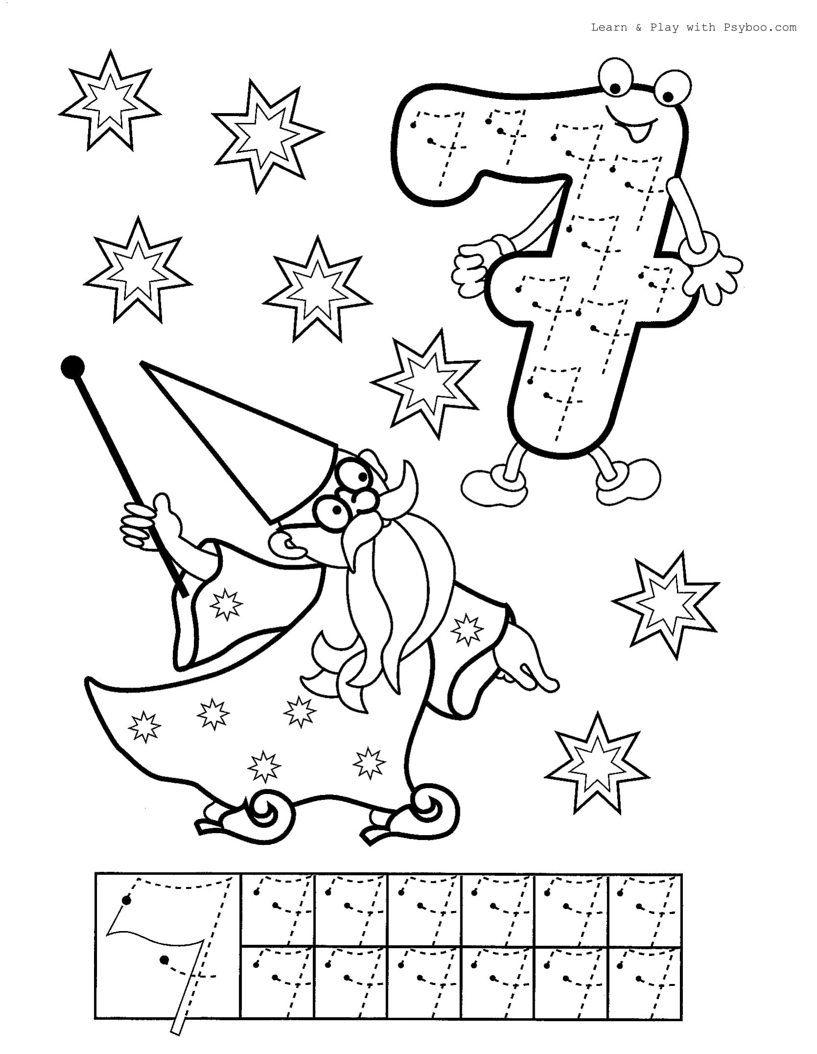 Printable Number 7 Coloring Worksheet For Free In