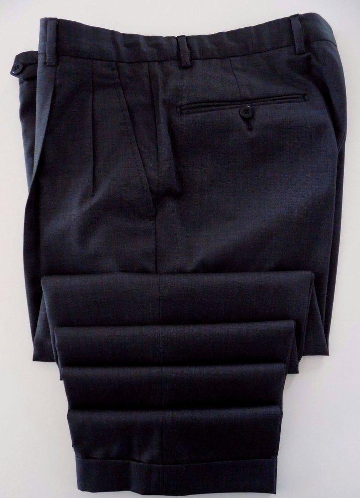 75529a1234d2 Incotex Pants 33 33 Pleated Cuffed Trouser Mens Sz Gray Super 100s Wool Men  Size  INCOTEX  DressPleat