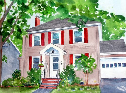 Watercolor Tutorials Step By Step House Portrait By Watercolour