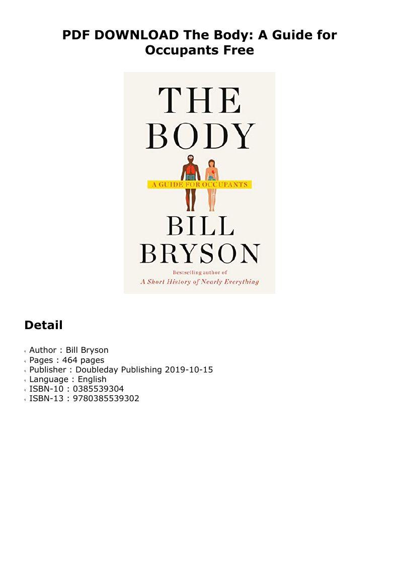 Pdf The Body A Guide For Occupants Bill Bryson Pdf Ebook Kindle