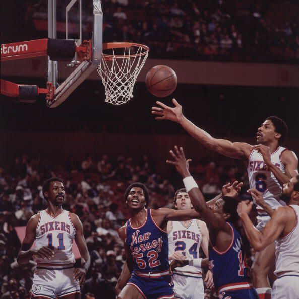 Dr. J and the 76ers vs the New Nets in 1982 or 1983