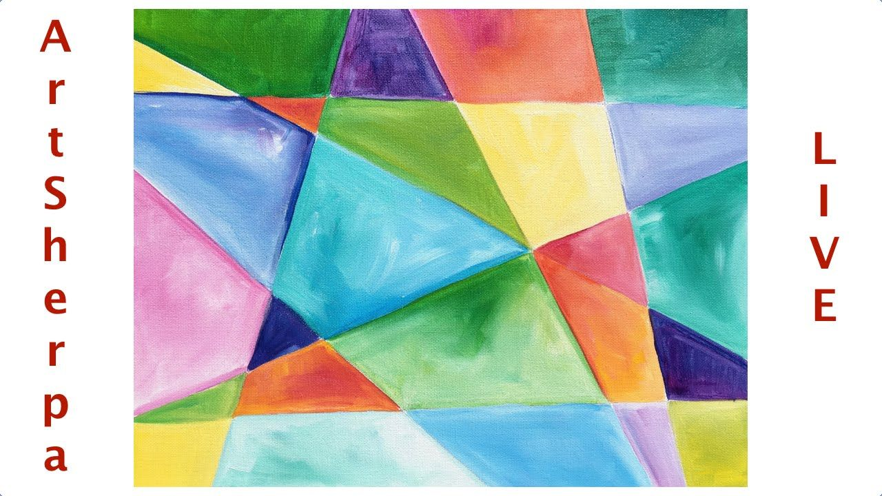 Geometric Beginner Easy Abstract Painting Tutorial Live Easy