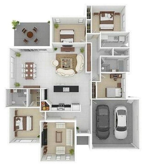 Denah Rumah 3 Kamar Tidur Terbaru 3D