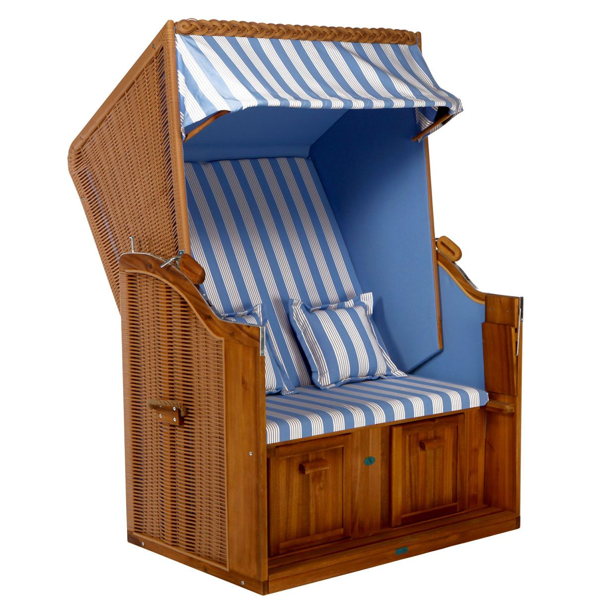 Sylt Flat Packed Roofed Wicker Beach Seat Butlers England