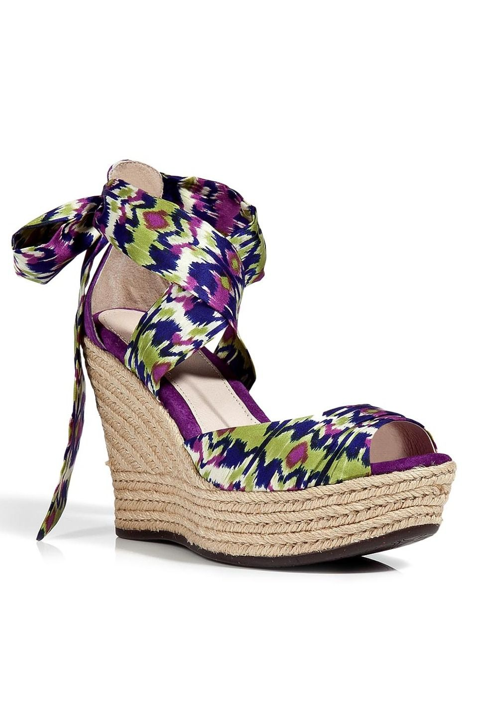e998be0d119 Ugg Ladies Lucianna Sandals In Grape Multicolor - purple ikat wrap wedges.  wow