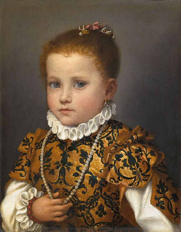 Excited renaissance young girl portrait apologise, but