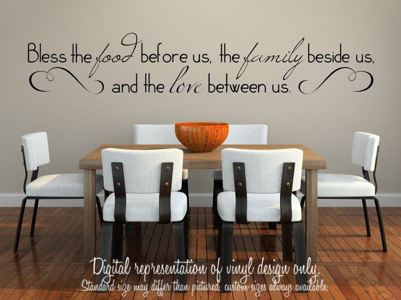 9x48 Wall Vinyl Decal Bless the food by SomethingSortaCrafty, $30.00