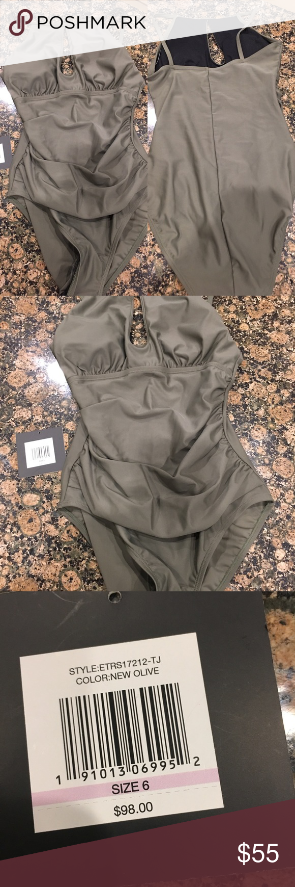 10a25e3e59c00 NWT Ellen Tracy Olive One Piece Ruched swimsuit Brand new Ruched One Piece  swim suit. Sexy key hole neck line. Comes from a smoke free environment!