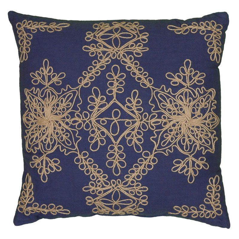 Rizzy Home Applique with Jute Embroidery and Corded Decorative Throw Pillow Navy - PILT06197BL001818