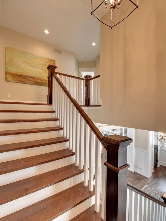 Traditional Staircase With Benjamin Moore Manchester Tan