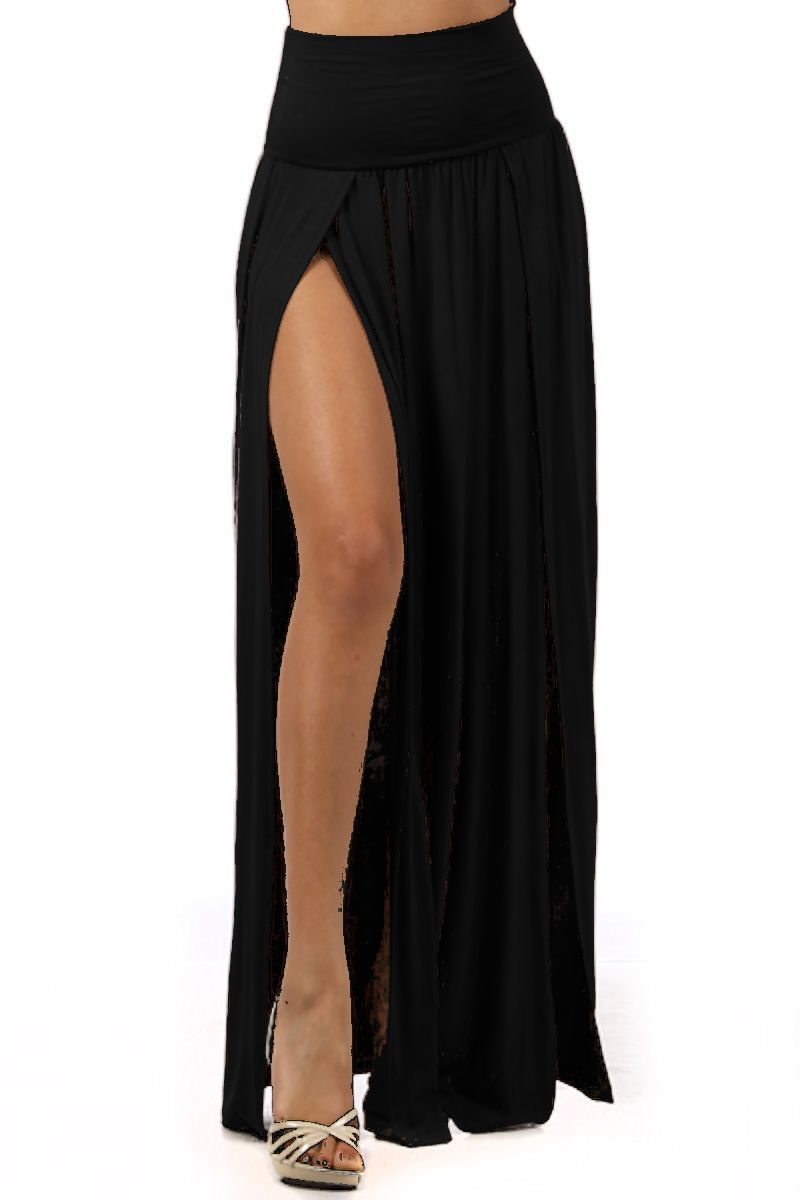 Long Skirt with Slit | Home › Skirts › Angelina Black Double Slit ...