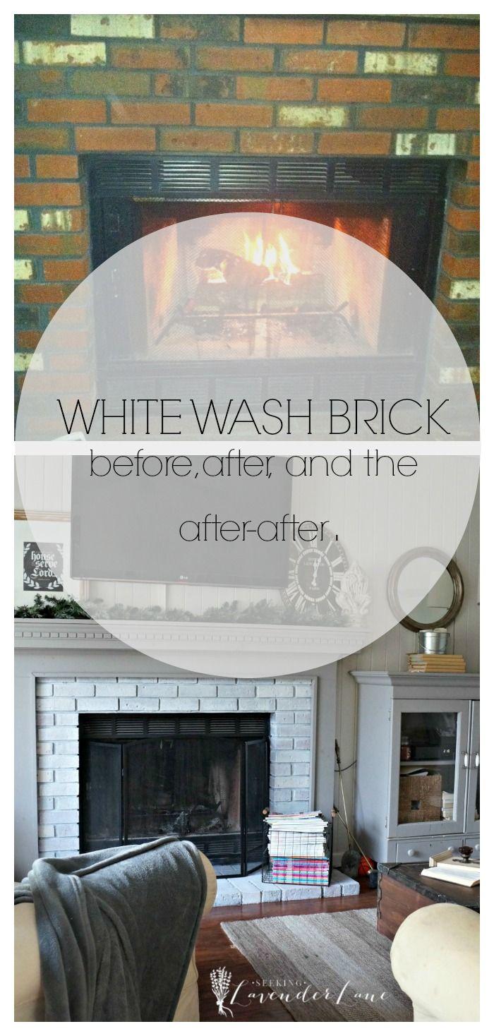 new year new room challenge re whitewashing the brick fireplace