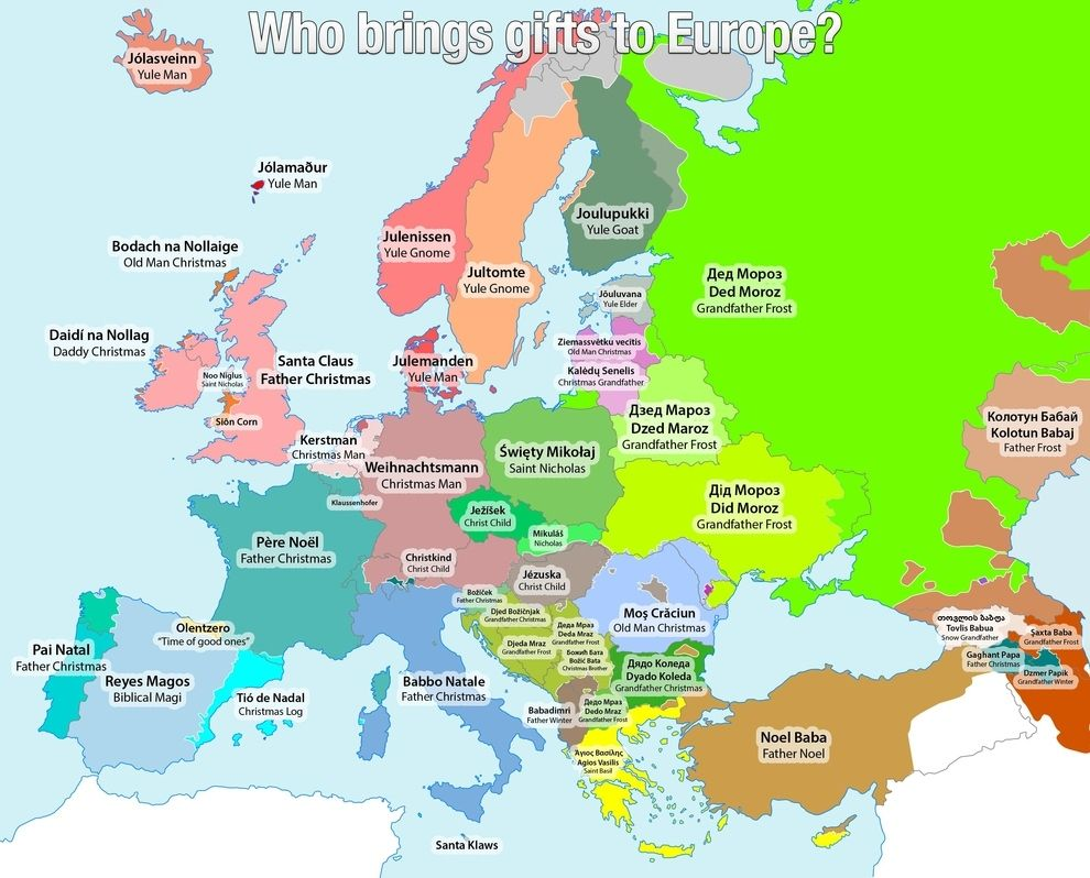 This Christmassy Map Shows All The Different Names For Santa In