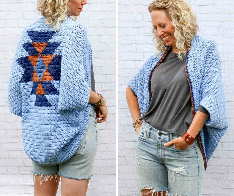 Navajo Blanket Free Crochet Shrug Pattern | Patrones mujer ...