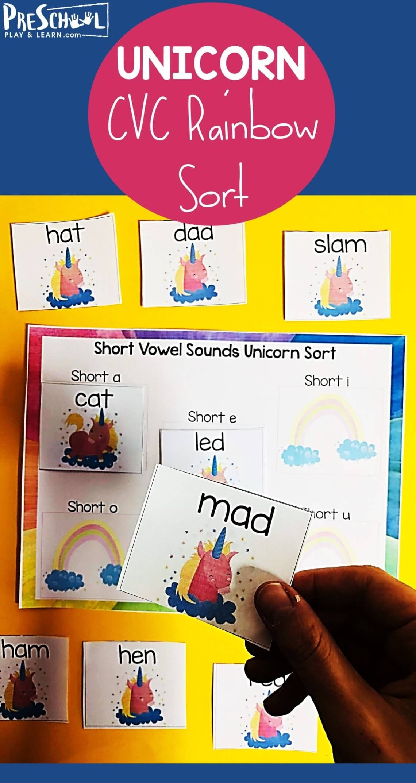 Unicorn Short Vowels Activity In