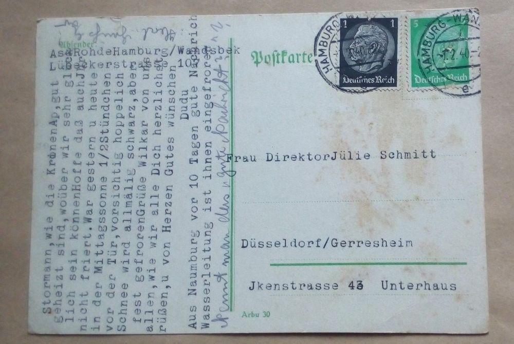Deutsches Reich Ganzsache 1940 Von Hamburg Nach Düsseldorf Gelaufen