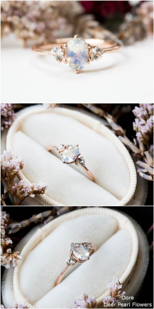 Moonstone sapphire three stone 14k gold engagement ring #sapphireengagementrings #weddingdress