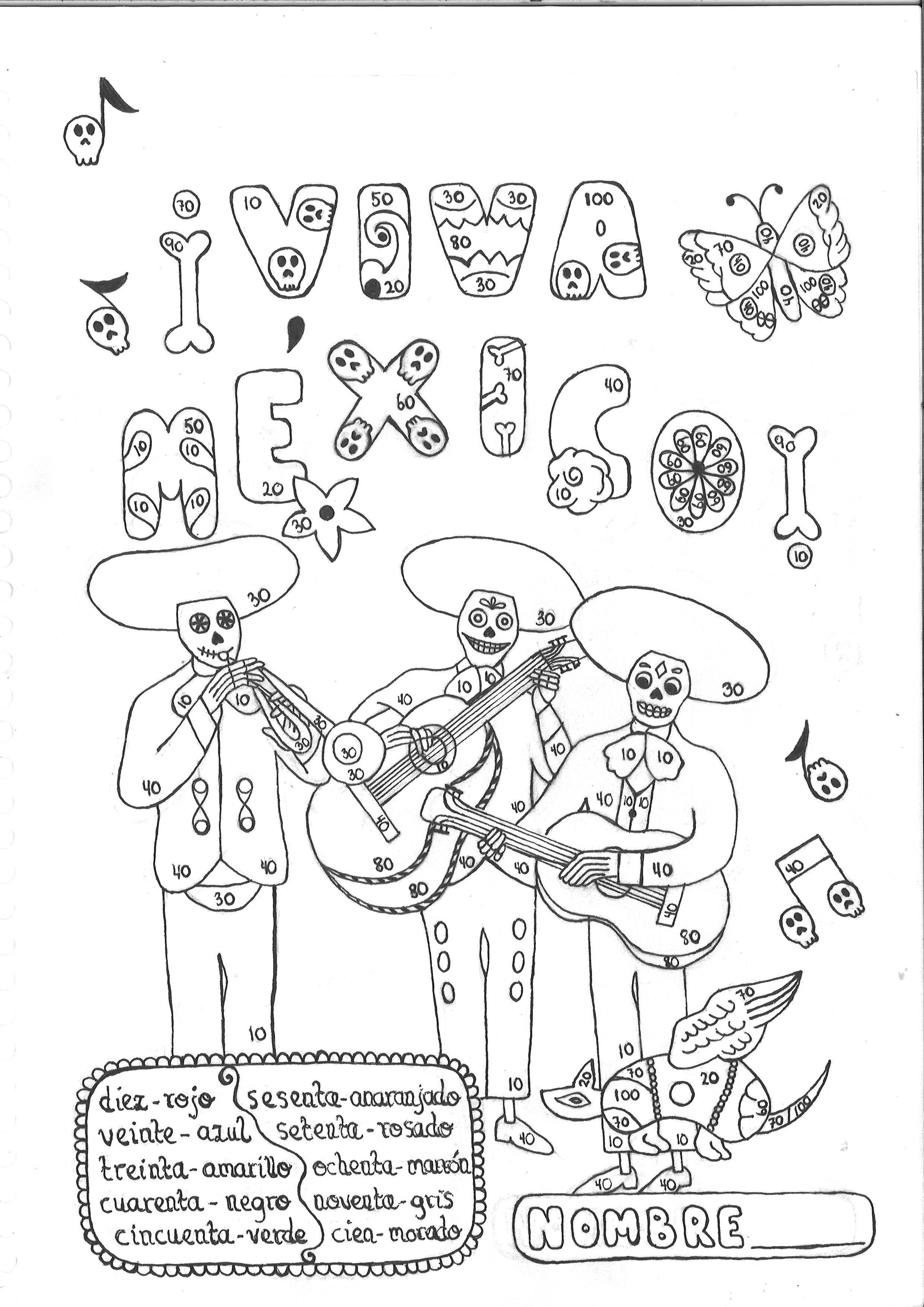 Color By Number 10 100 Spanish Mexico Day Of The Dead No