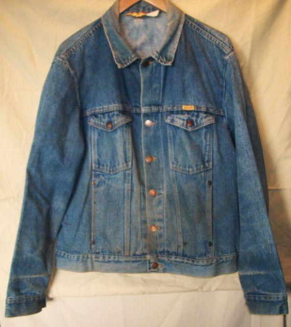 Vintage Retro Men's 80's Rustler Jeans Blue Jean Jacket Indigo Denim Jacket Large Made in the USA vRQvyo