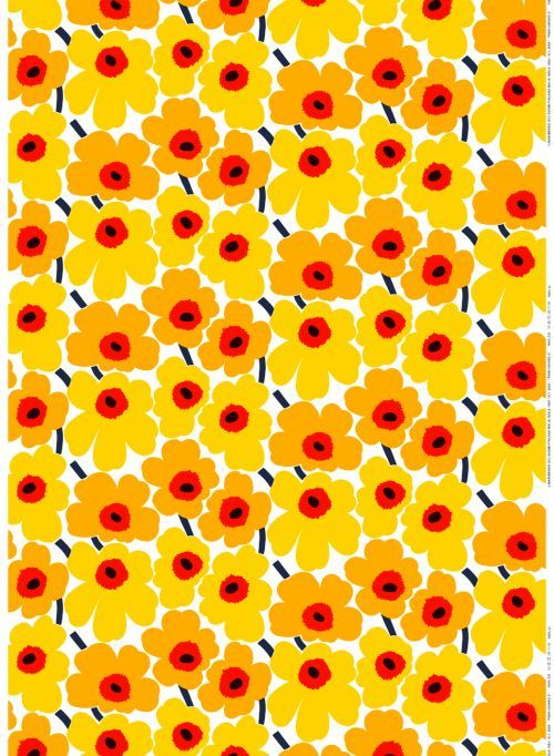 Sunny Unikko. This smaller scale Unikko print features more flowers per square meter in a rich palette of yellow, orange and flickers of red. The 100% cotton fabric is durable and adds warmth to any space; ideal for pillows, quilts, curtains and tablecloths. It's also great to wear, create a unique dress, bag or shirt.