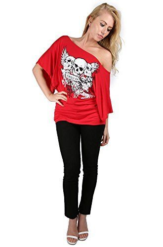 85bfb2a8 Oops Outlet Womens Off One Shoulder Skull Bardot Batwing Sleeve T Shirt  Top, http: