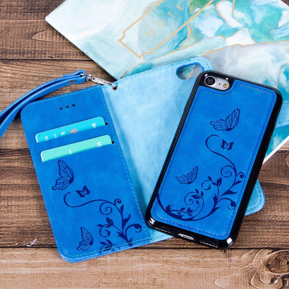 Apple iphone 7 plus embossed butterfly design wallet