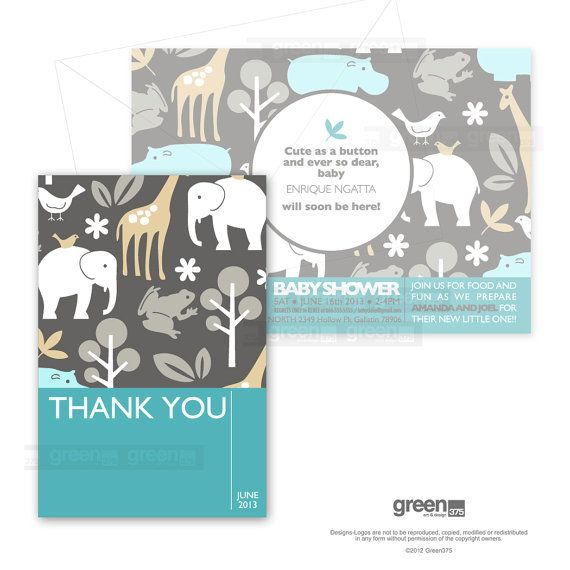 Thank You Card Michael Miller Sea Zoology Pattern Hq Digital