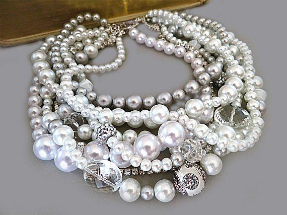 2006dc639 Pearl Statement Necklace, Chunky Bridal Necklace, Wedding Necklace for  Bride Wedding Jewellery Choker Grey White Crystal Rhinestone, GRACE