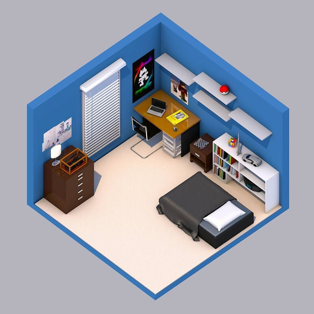 An Isometric Version Of My RL Bedroom Made In Cinema 4d PS Ill