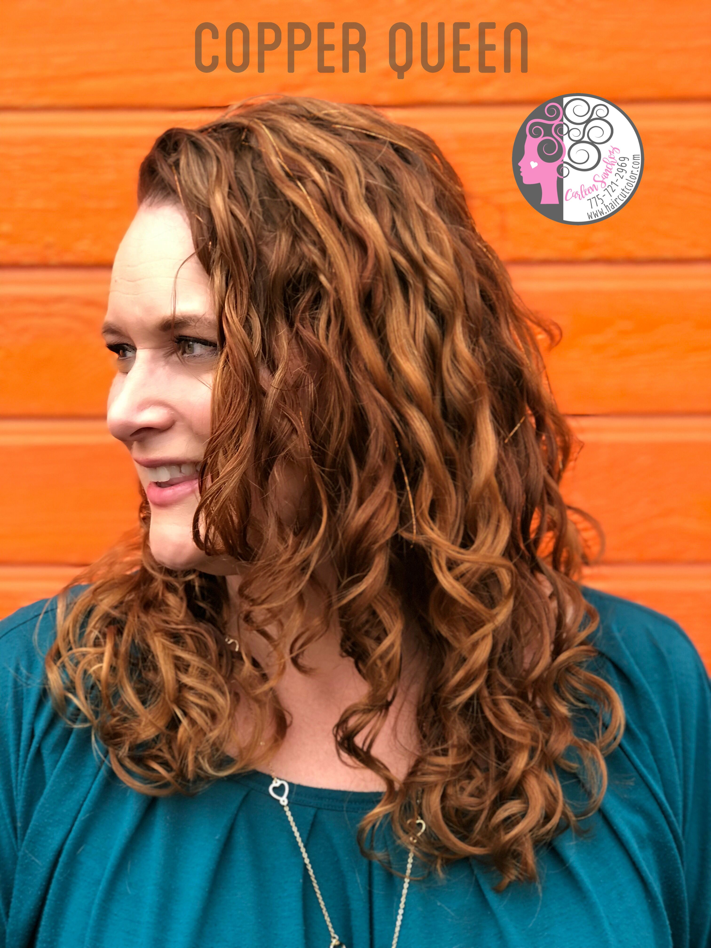 Copper And Balayage Highlights For Naturally Curly Wavy Hair By Carleen Sanchez 775 721 2969 Wavy Curly Hair Hair Curly Hair Styles