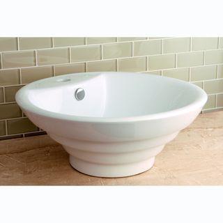 Kingston Br Round Vitreous China Single Basin Vessel Sink White Porcelain Size 16 25