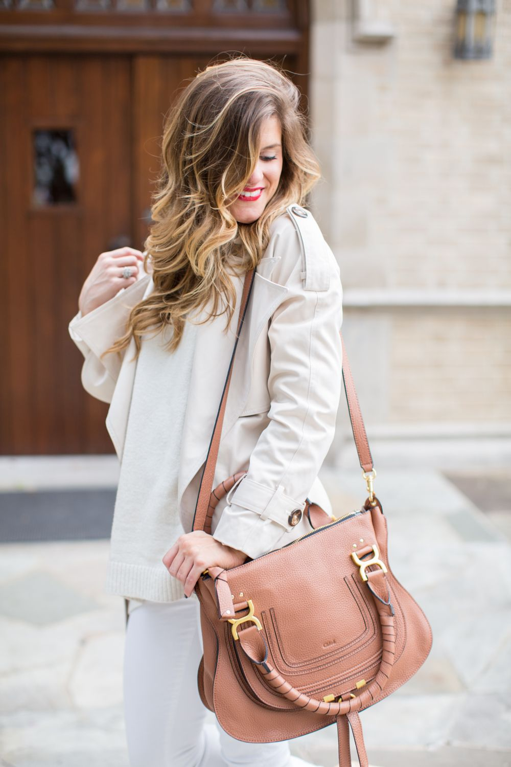 Winter White Look with white jeans cream sweater chloe bag nude patent pumps f92220f7c