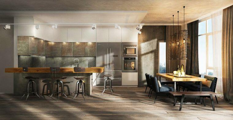 Esempio di arredamento cucina moderna con isola e sgabelli tavolo