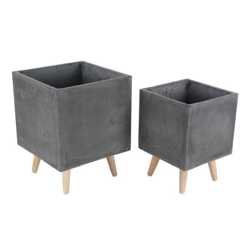 UMA Enterprises Square Fiberglass Planters - Set of 2 - 46473