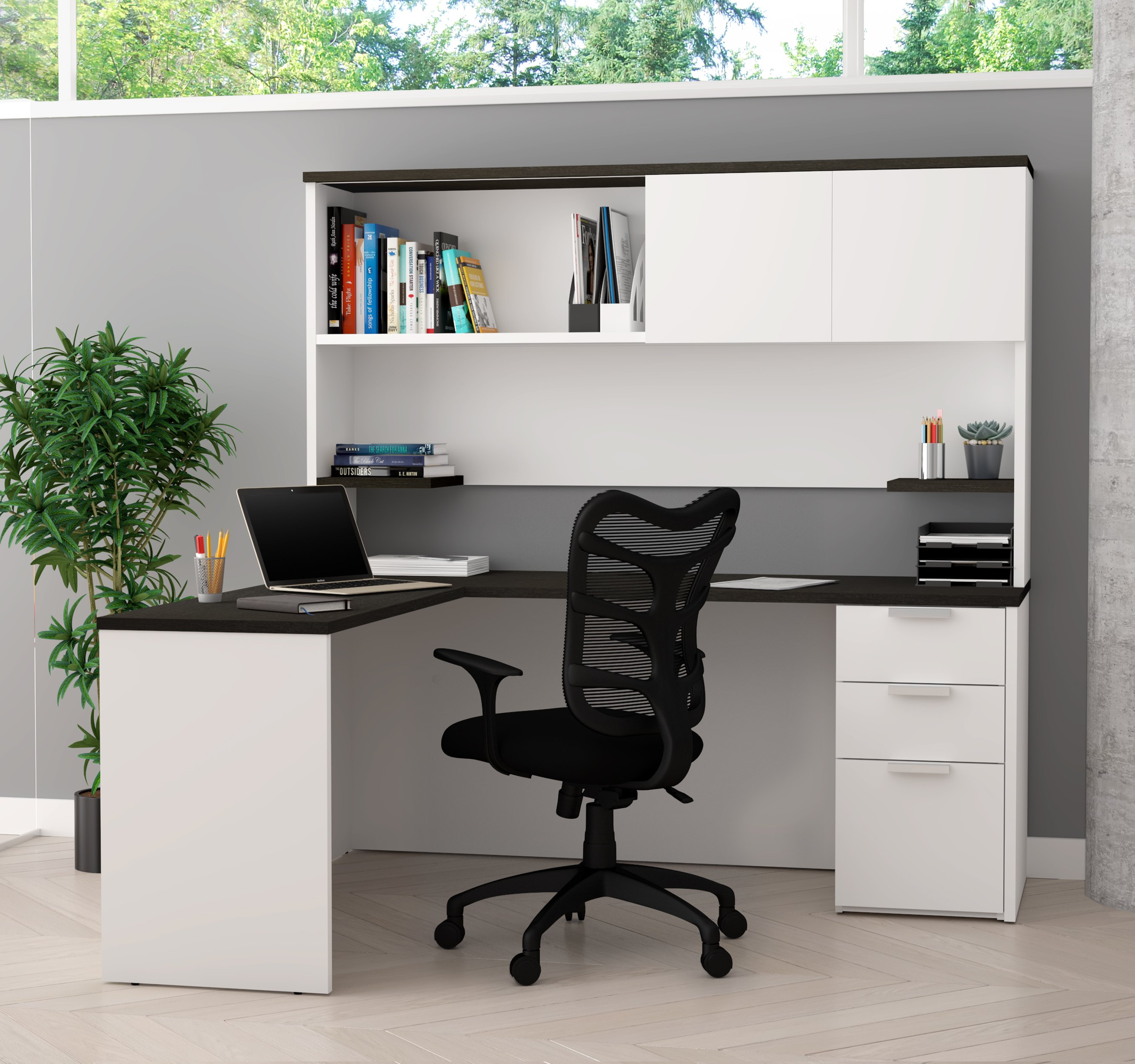 White U0026 Deep Gray Single Pedestal L Shaped Desk U0026 Hutch