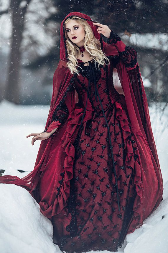 Gothic Sleeping Beauty Red and Black Sparkle Fantasy Set with Cape ...