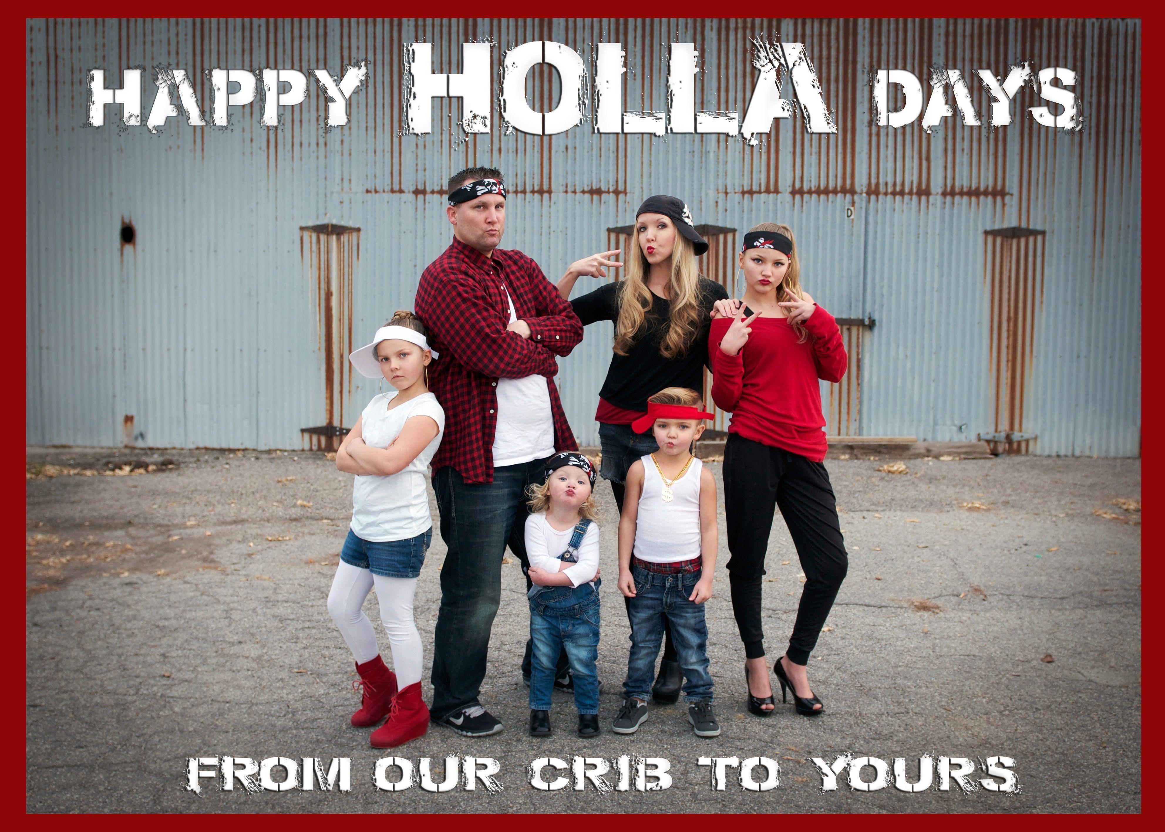 New Christmas Photo Card Ideas 2020 Happy HOLLA days funny Christmas card idea.   House interior