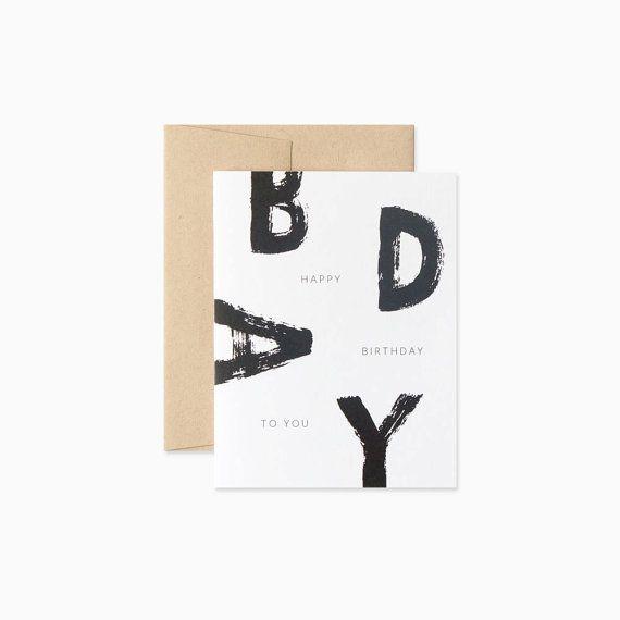 Brush Birthday Card Brush Lettering Black And White Birthday