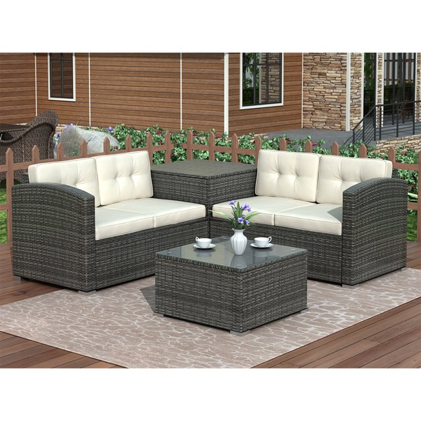 4 Piece Rattan Patio Furniture Sets, Outdoor Sectional Couch With Dining Table