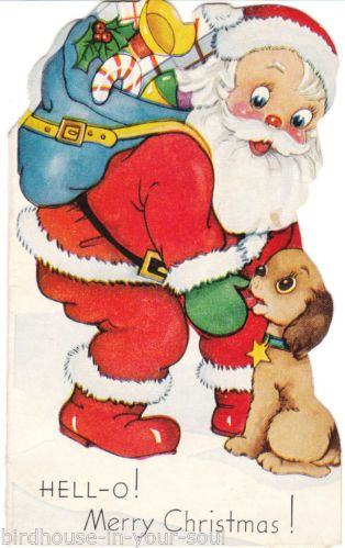 Vintage Christmas Card Santa Claus and Cocker Spaniel Die-Cut for Children Child