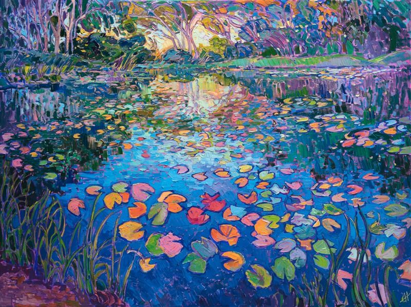 Water Lilies Oil Painting In A Modern Impressionist Style By Erin Hanson Contemporary Impressionism Fine Art Prints Artists Art