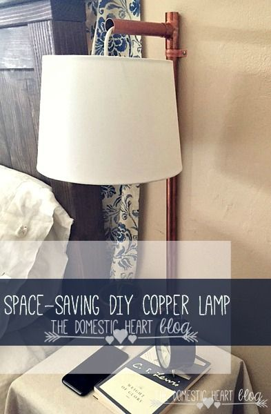 Are you short on space on your nightstand?  Do you knock your lamp over all the time?  This industrial copper lamp is your solution!  It's easy to make and affordable!  Check it out at The Domestic Heart blog #HDgiftchallenge
