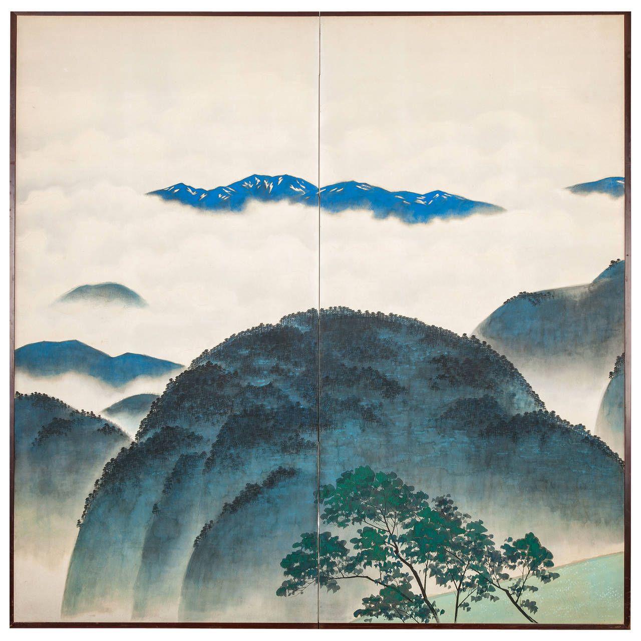 Japanese Screen: Blue Mountain Landscape | Japanese screen, Mountain  landscape, Bio art
