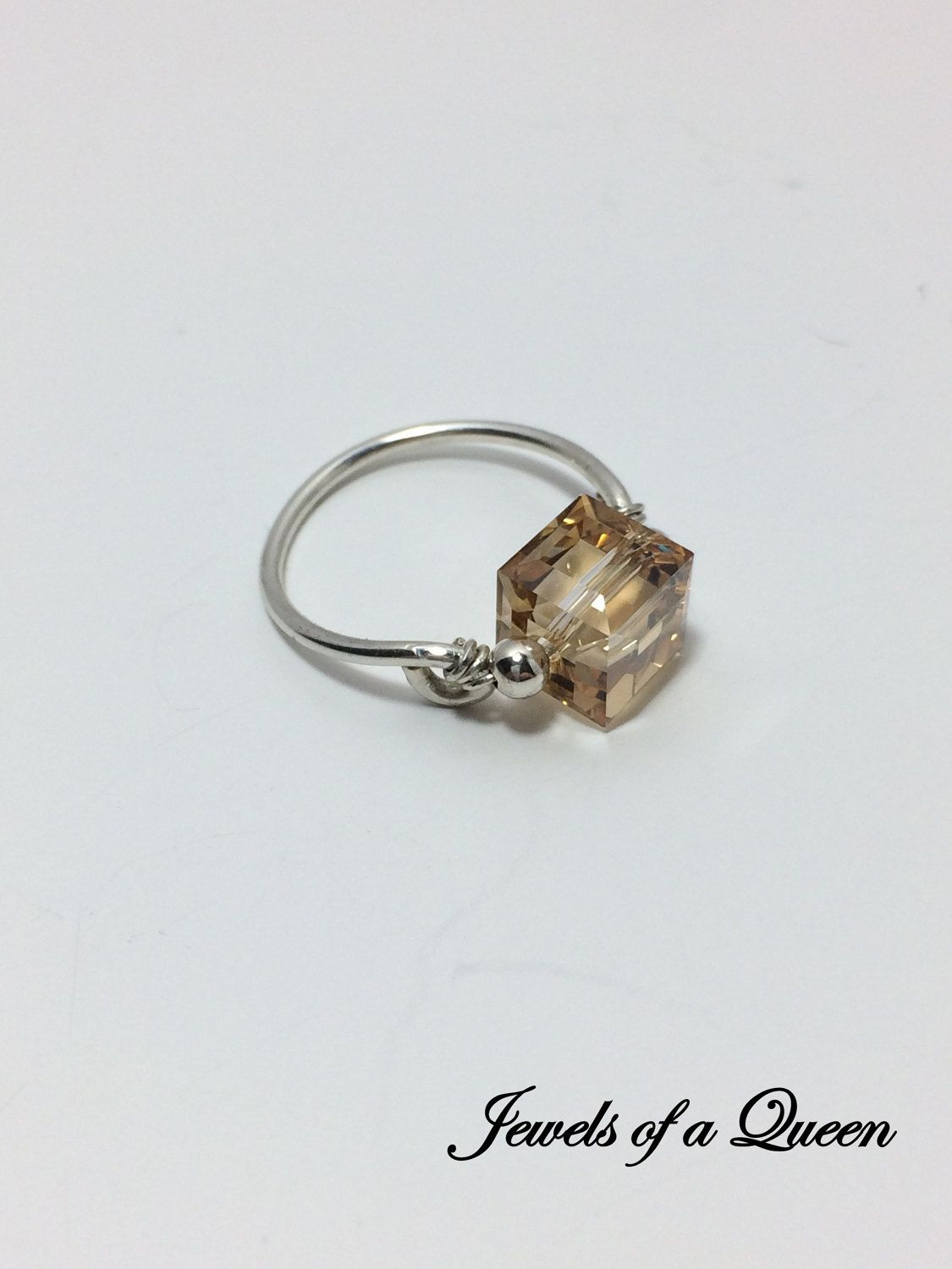 Golden Shadow Ring ~ Swarovski Crystal Ring ~ Wire Wrapped Ring ...