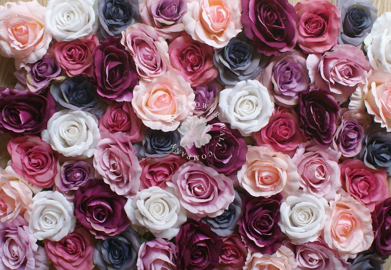 Rose Flower Wall Panel In White Peach Purple Blue And Pink Perfect For The Diy Bride Or Wedding Planner By T Flower Wall Diy Wedding Planner Flower Backdrop