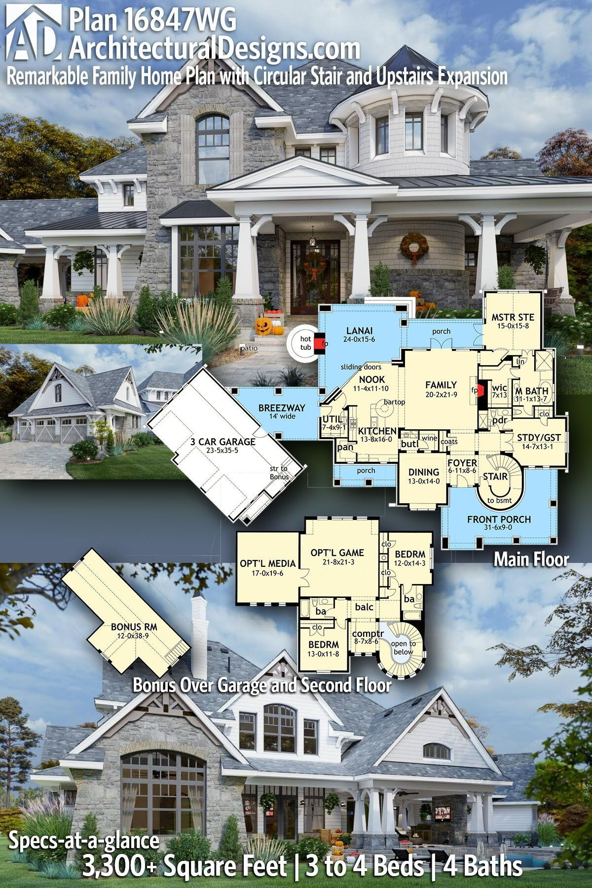 Plan 16847wg Remarkable Family Home Plan With Circular Stair And Upstairs Expansion Family House Plans House Plans House Plans Farmhouse