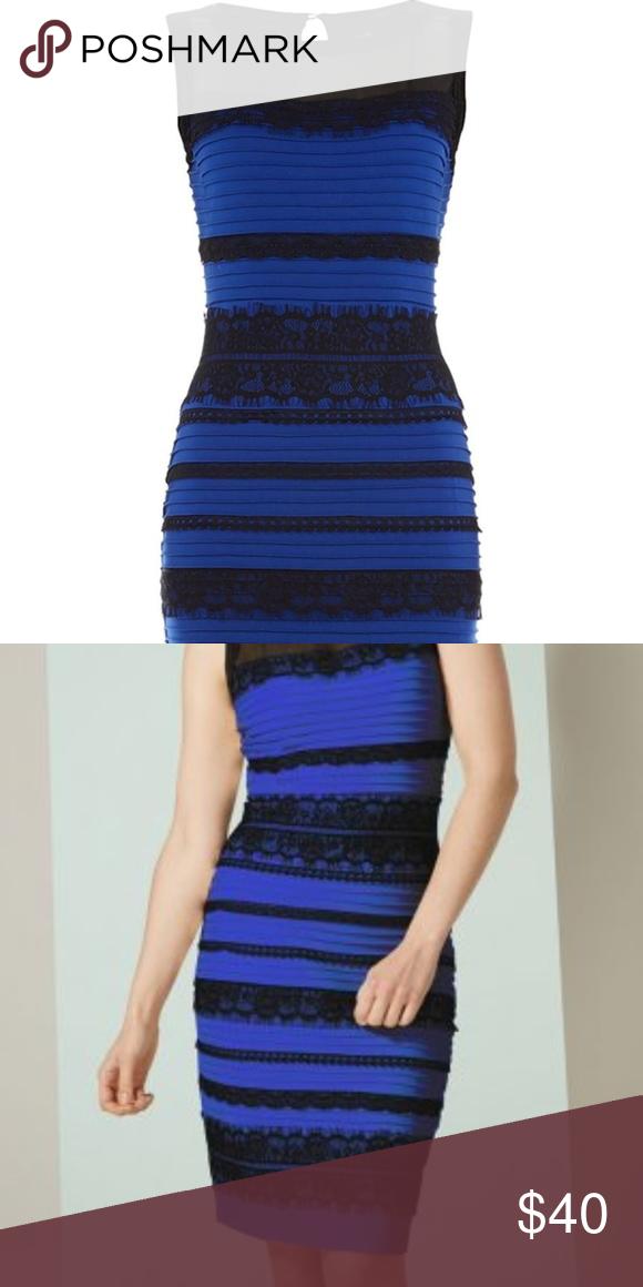 Roman Originals Blueblack Dress Royal Blue With Black Lace Bodycon