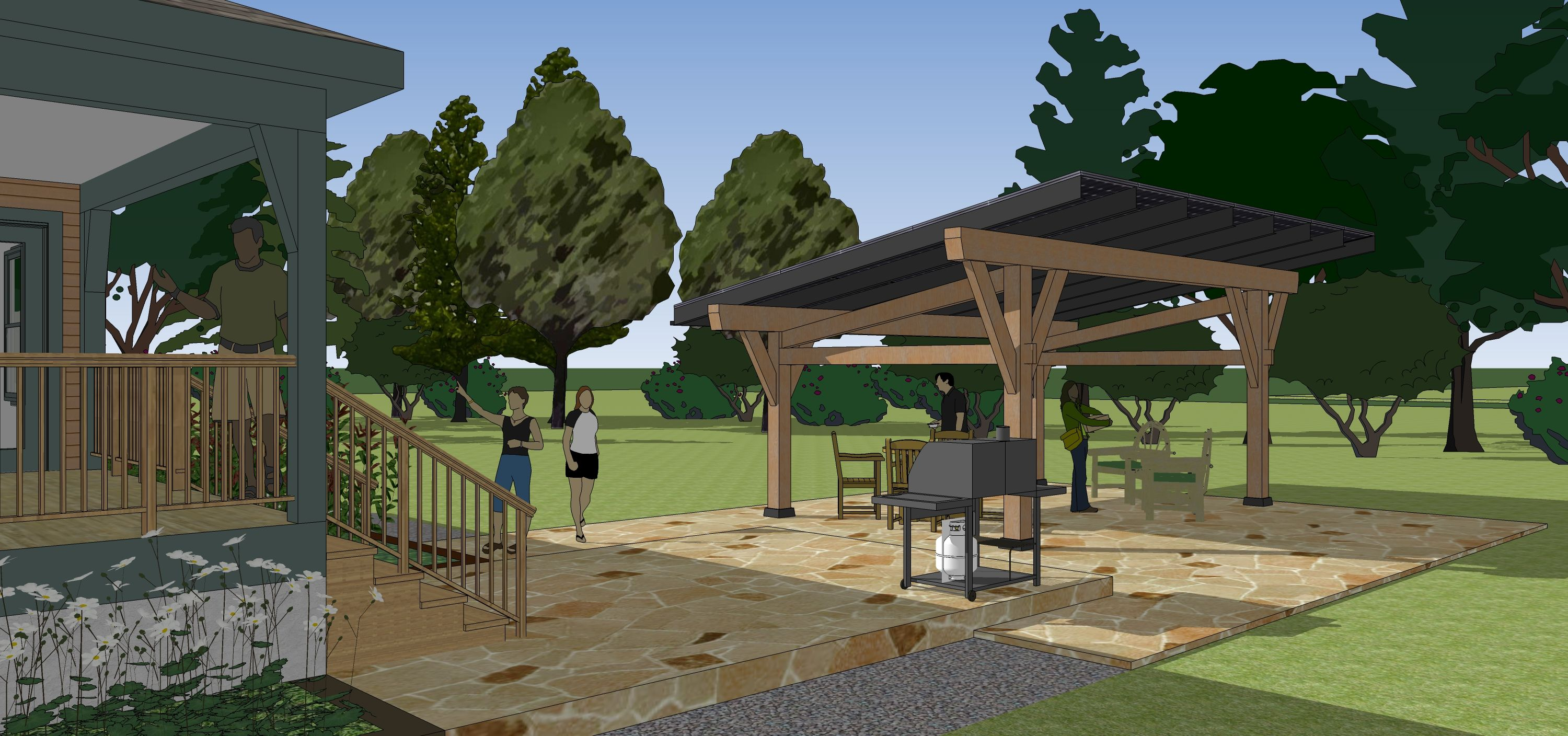 Rendering of a backyard view of a SunCommon Solar Canopy at a ...
