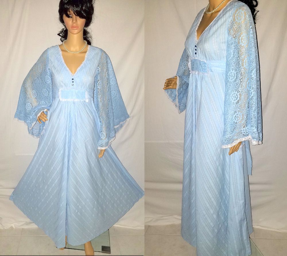 Vtg 70s Saks Fifth Ave Blue Lace Hippie Groovy Angel Sleeves Boho ...