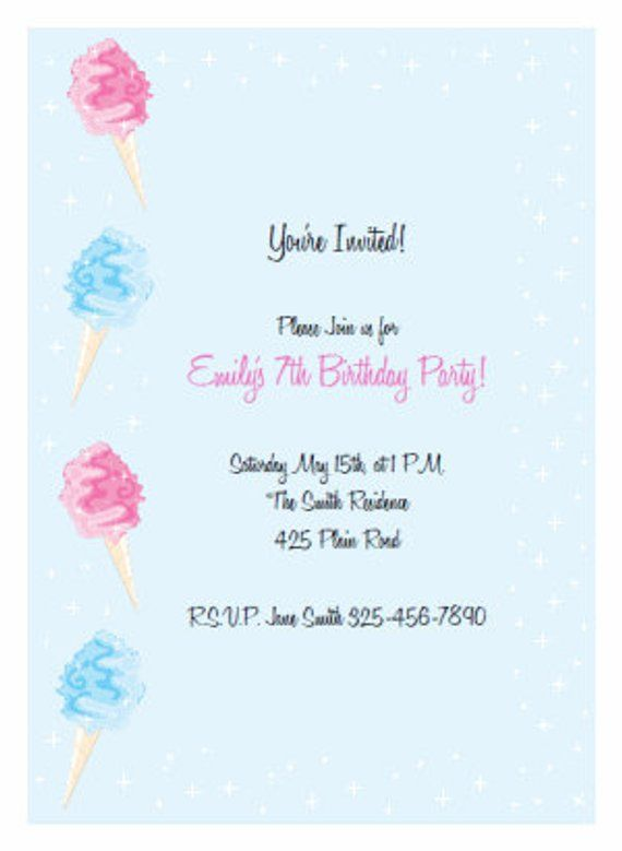 Printable Blue Cotton Candy Invitation Kit Birthday Party Baby Shower INSTAN